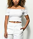 Lunachix Lizzie camiseta corta con escote Bardot en blanco
