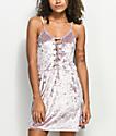 Lunachix Pink Crushed Velvet Lace Up Dress