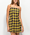 Lunachix Plaid Yellow & Blue Mini Dress