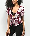Lunachix Sadie blusa anudada floral borgoña