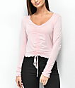 Lunachix Sandy Ruched Light Pink Long Sleeve Crop Top
