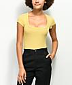 Lunachix Square Neck Yellow Stripe T-Shirt