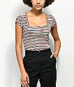 Lunachix camiseta a rayas con cuello cuadrado