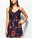 Lunachix vestido cruzado floral de terciopelo morado