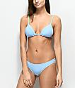 Malibu Cheeky braguitas de bikini de canalé en azul claro