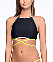 Malibu Colorblock Black High Neck Halter Bikini Top