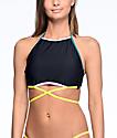 Malibu Colorblock top de bikini cuello alto negro