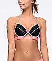 Malibu Colorblock top de bikini moldeada en rosa y gris