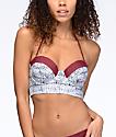 Malibu Gypsy Queen top de bikini push up en gris y color vino