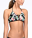 Malibu Maui Escape top de bikini bralette moldeada en negro floral