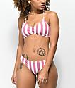 Malibu Mauve & White Striped Cheeky Bikini Bottom