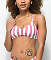 Malibu Mauve & White Striped Cross Back Bikini Top