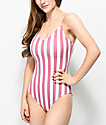Malibu Mauve & White Striped Lace Up One Piece Swimsuit