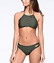 Malibu Surfs Up bottom de bikini cortado en color verde olivo