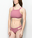 Malibu braguitas de bikini acanaladas estilo cheeky con aberturas laterales en color malva