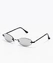 Mini gafas de sol rectangulares ovales en plateado y negro