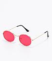 Mya gafas de sol redondeas en rojo translúcido