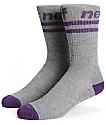 Neff Stripe Grey & Purple Crew Socks