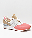 New Balance Lifestyle 574 Sport Hemp zapatos marrones y rosas