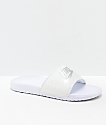 Nike SB Benassi White & Metallic Silver Slide Sandals