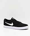 Nike SB Check Solarsoft Black & White Canvas Skate Shoes