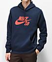 Nike SB Icon sudadera con capucha azul y roja