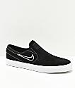 Nike SB Janoski Black & Bone Suede Slip-On Skate Shoes