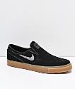 Nike SB Janoski Black & Gum Suede Slip-On Skate Shoes