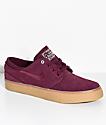 Nike SB Janoski Night Maroon zapatos de skate de goma y ante en granate