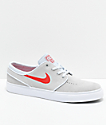 Nike SB Janoski Platinum & Red Suede Skate Shoes
