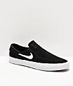 Nike SB Janoski RM Slip-On zapatos de skate en negro y blanco