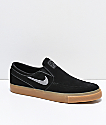 Nike SB Janoski Slip-On zapatos de skate de ante y goma en negro