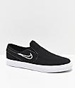 Nike SB Janoski Slip-On zapatos de skate de lienzo negro para niños