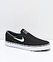 Nike SB Janoski Slip-On zapatos de skate de lienzo negro y blanco