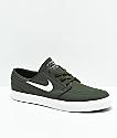 Nike SB Janoski zapatos de skate de lienzo ripstop en verde y blanco