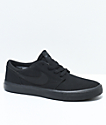 Nike SB Kids Portmore II All Black Canvas Skate Shoes