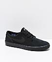 Nike SB Portmore II All Black Suede Skate Shoes
