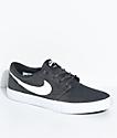 Nike SB Portmore II Anthracite, White & Black Canvas Skate Shoes