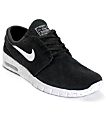 Nike SB Stefan Janoski Air Max Black & White Suede Skate Shoes