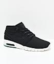 Nike SB Stefan Janoski Air Max Mid Anthracite zapatos de skate sintéticos en negro y blanco