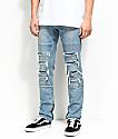 Ninth Hall Rogue Sparrow Zipper Light Blue Jeans