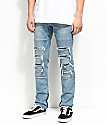 Ninth Hall Rogue Sparrow Zipper Light Blue Jeans