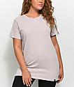Ninth Hall Tully Slit Oversized Light Mauve T-Shirt