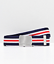 Nixon Basis Navy, White & Red Web Belt