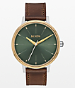 Nixon Kensington Leather reloj analógico plateado, oro y agave