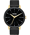 Nixon Kensington Leather reloj en blanco, negro y color oro