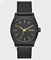 Nixon Medium Time Teller Black Leather Watch