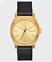Nixon Medium Time Teller Leather Gold & Black Watch