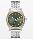 Nixon Medium Time Teller Silver, Gold & Agave Analog Watch