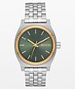 Nixon Medium Time Teller Silver, Gold & Agave Analog Watch